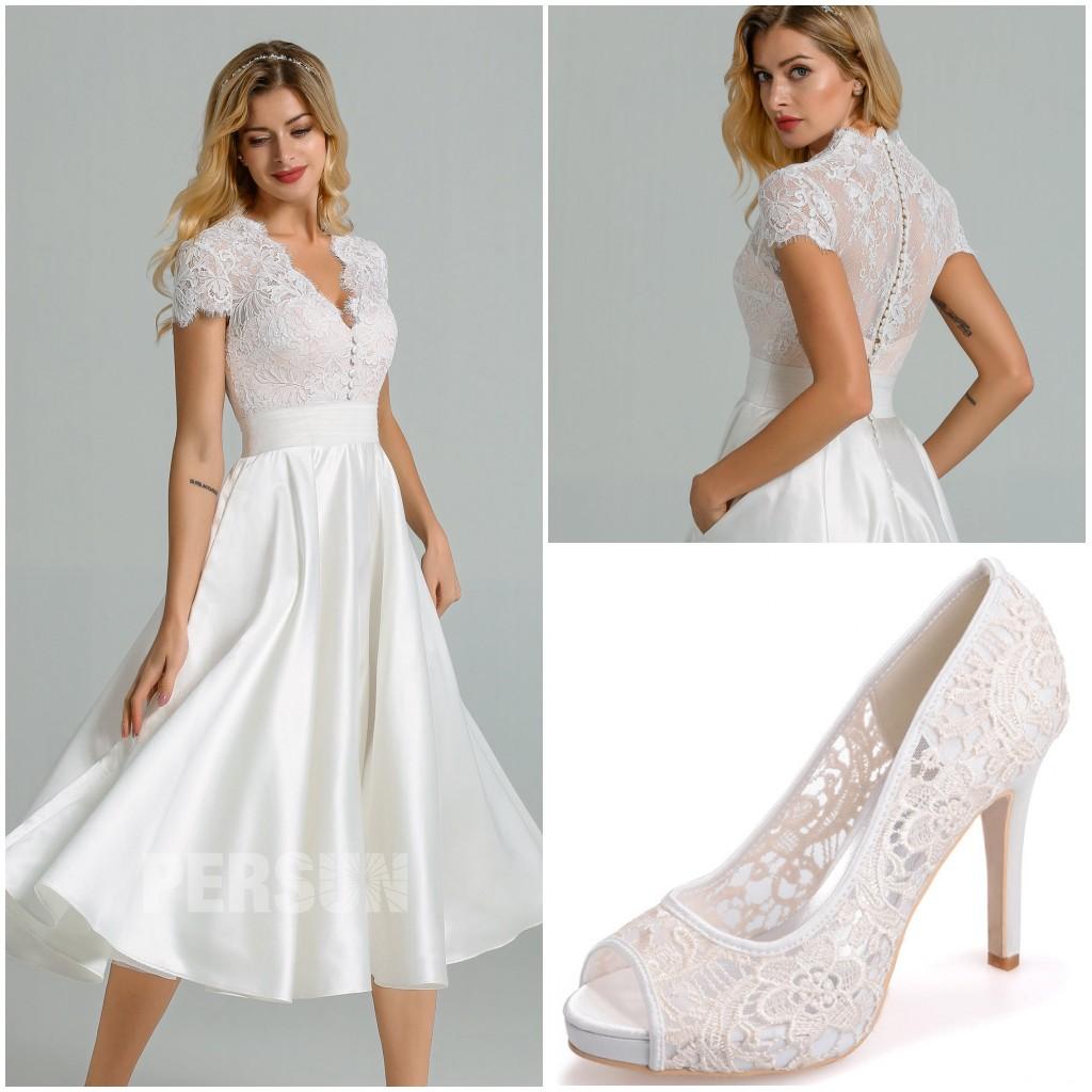 robe mariée midi haut dentelle & escarpins mariage dentelle