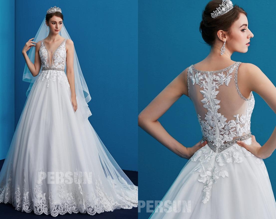 robe de mariée col V appliqué de dentelle guipure dos illusion