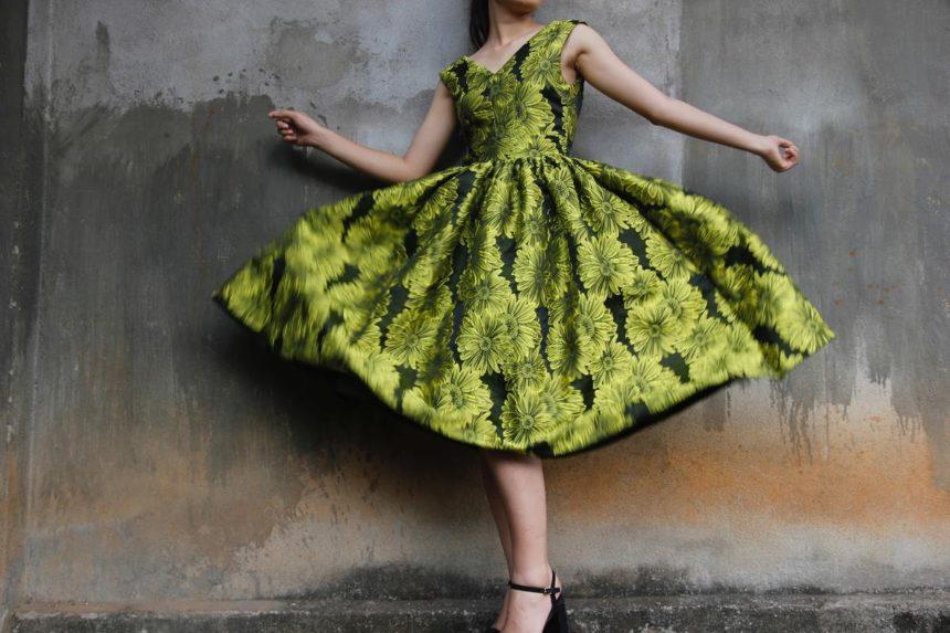 robe midi verte à fleurs